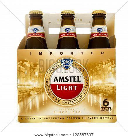 Winneconne WI -29 Oct 2015: Six pack of Amstel Light beer.
