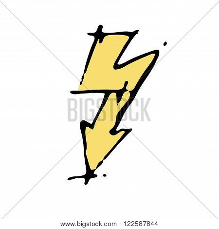 Lightning icon electricity hand drawn vector illustration