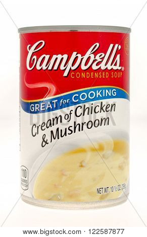 Winneconne WI - 21 Nov 2015: A can of Campbell's cream of chicken & Mushroom soup