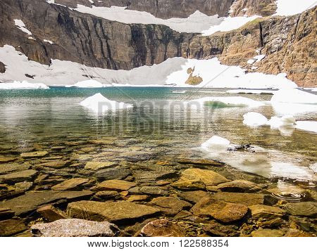 Iceberg Lake Trail in summer, Glacier National Park, Montana, United States.