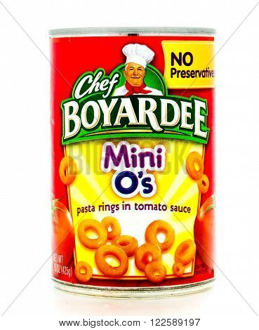 Winneconne WI - 3 February 2015: Can of Mini O's by Chef Boyardee. Chef Boyardeee has been enjoyed by everyone since 1928.