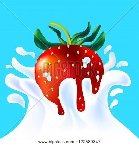 Red Strawberry In Yoghurt
