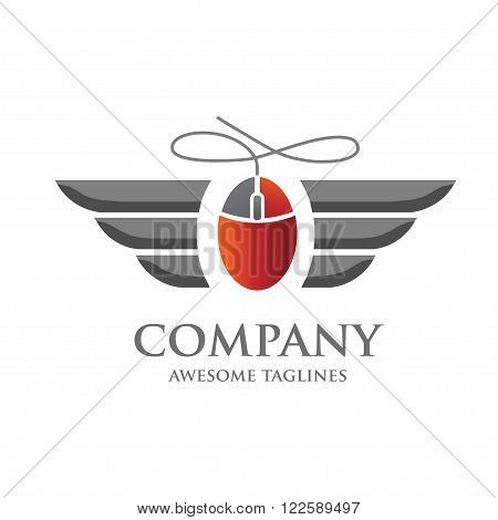 computer mouse icon with wing logo concept