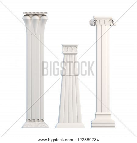 Modern columns isolated on white background. 3d rendering.