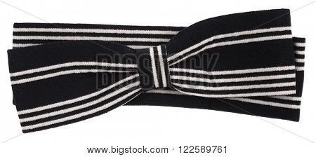 Hair bow tie black with white stripes