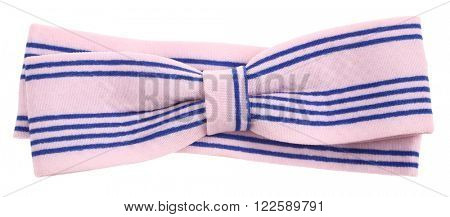Hair bow tie pink with blue stripes