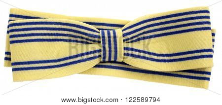 Hair bow tie yellow with blue stripes