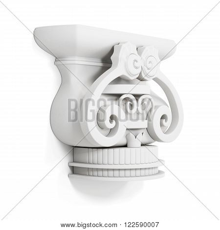 Decorative cornice isolated on white background. 3d render image.