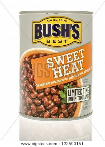 Winneconne WI - 19 Nov 2015: Can of Bush's sweet heat read beans made for a limited time.