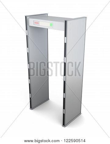 Metal detector door on white background. 3d rendering.