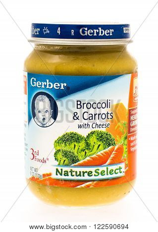 Winneconne WI - 20 April 2015: Jar of Gerber baby food in broccoli and carrots.