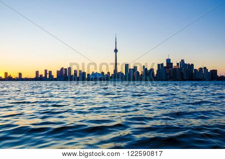Toronto CA 1st July 2012. Toronto Skyline at Sunset from Toronto Islands