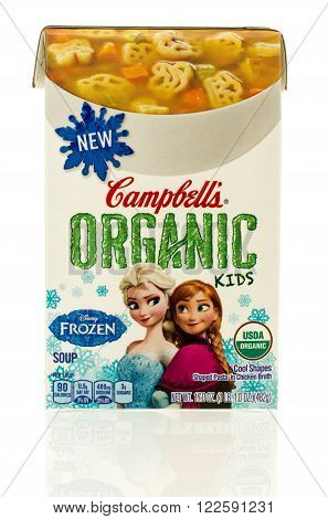 Winneconne WI - 6 Dec 2015: Package of Campbell's organic soup for kids featuring Frozen..