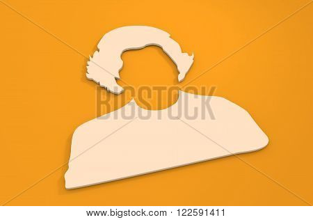 Vintage hair style woman silhouette. 3D monochrome icon. 3D rendering