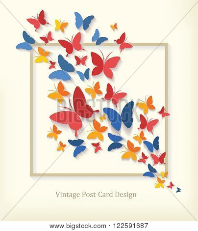 Vintage Post Card with Butterflies. Vector.