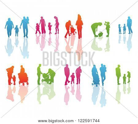 Set of Color Family Silhouettes: Men's, Women's and Children isolated on white. Vector.