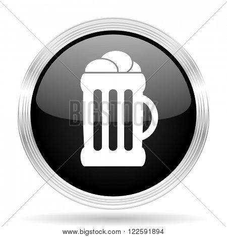 beer black metallic modern web design glossy circle icon