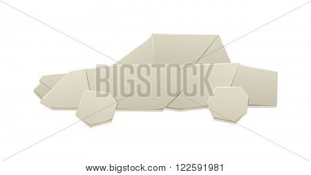 Origami car vector silhouette. White paper origami car isolated on white. Origami car