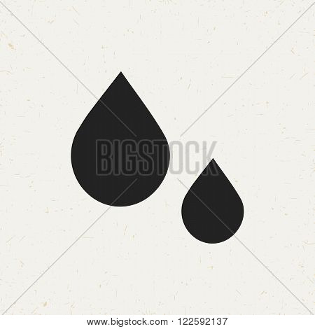 Retro style monochrome flat vector icon of two drops. Vintage drop symbol for web sites and apps. Hipster style minimal drop icon. Isolated drop object. Black drop concept. Drop symbol. Drop sign.