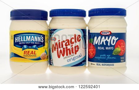 Winneconne WI -23 Oct 2015: Group shot of the most popular brands of Mayonnaise.
