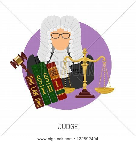 Crime and Punishment Vector Concept with Flat Icons for Flyer, Poster, Web Site, Advertising Like Judge, Gavel, Scales and Law Books.