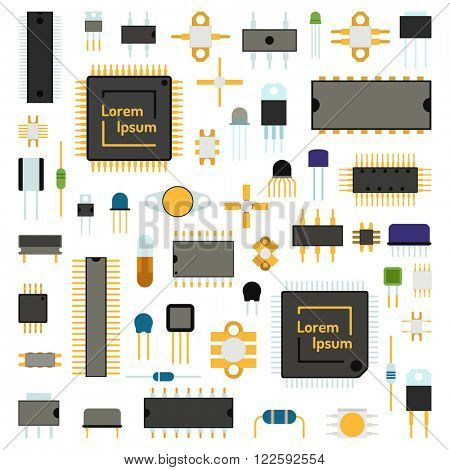 Computer board chip engineering circuit icons and microchip circuit electrical science concept network icons vector. Circuit computer chips icons technology vector illustration set. Computer chip