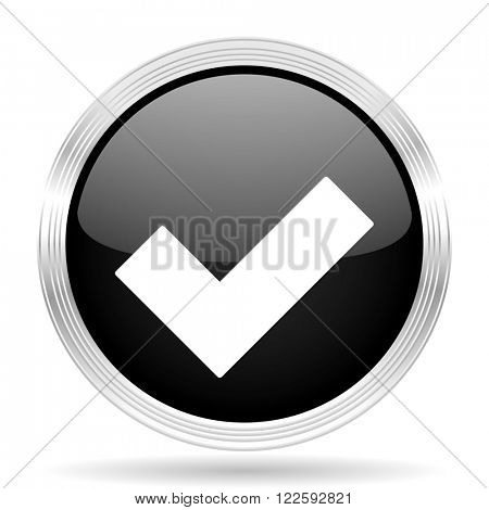 accept black metallic modern web design glossy circle icon