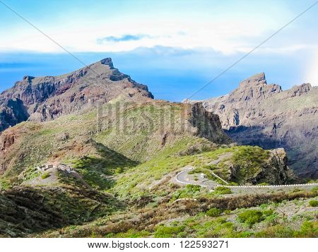 Scenic route through the west coast of Tenerife, Canary Islands, Spain.
