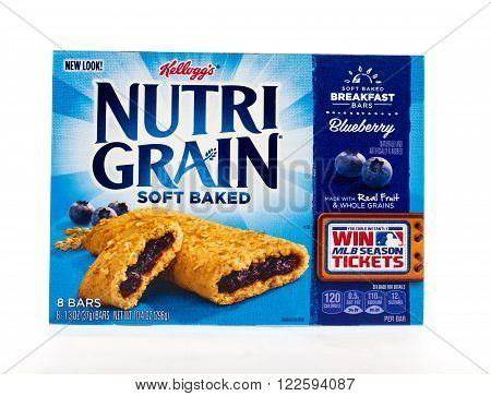 Winneconne WI - 3 May 2015: Box of Kellog's Nutri Grain soft baked in blueberry flavor.