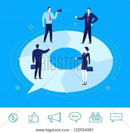 Flat design vector concept illustration. businessmen and businesswomen discussing work.  Good profit. Vector clipart. Icons set.