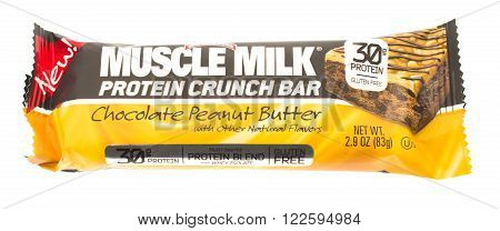 Winneconne WI - 16 April 2015: Muscle Milk protein crunch bar in chocolate peanut butter flavor.