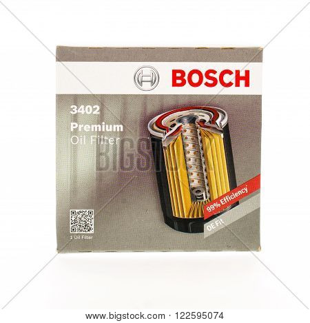 Winneconne WI - 15 April 2015: Bosch oil filter that is normally changed during every oil change.