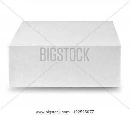 Closed white cardboard box isolated on white background