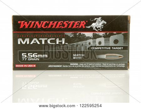 Winneconne WI - 10 Jan 2016: Box of Winchester Match 5.56 x 45mm Nato full metal jacket rounds.