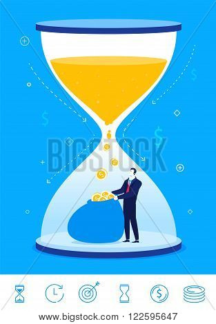 Flat design vector concept illustration. time is money. Businessman turns time into money. Vector clipart. Icons set.