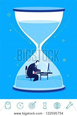 Flat design vector concept illustration. timeline deadline. Businessman sitting in the hourglass.  Vector clipart. Icons set.
