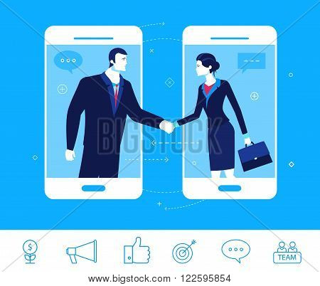 Flat design vector concept illustration. Good deal. Negotiations businessman and businesswoman.  Good profit. Vector clipart. Icons set.