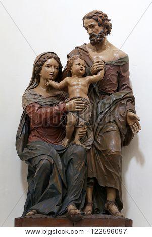 ELLWANGEN, GERMANY - MAY 07: Holy Family , Basilica of St. Vitus in Ellwangen, Germany on May 07, 2014.