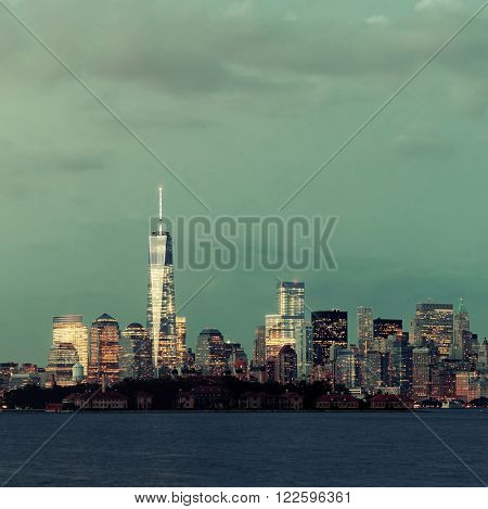 New York City downtown skyline panorama at blue hour