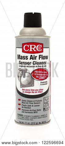 Winneconne, WI - 25 April 2015: Spray can of CRC mass air flow sensor cleaner also known as a MAF.