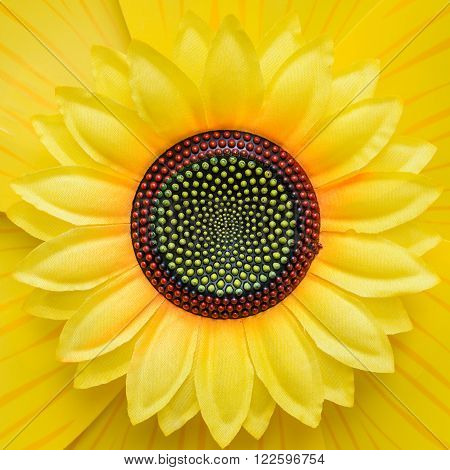 closeup yellow sunflower of plastic for background or backdrop