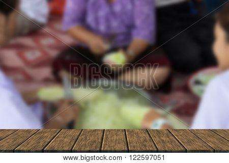 People Slice Raw Papaya For Cooking Papaya Salad