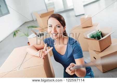 Woman Taking A Self Portrait In Her New House