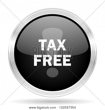 tax free black metallic modern web design glossy circle icon