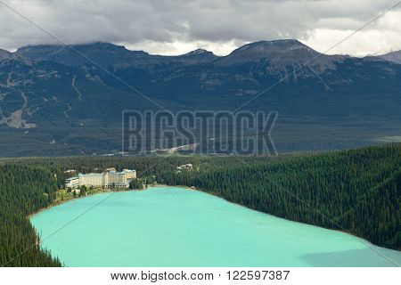 Banff national park view with mountains and forest in Canada.