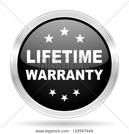 lifetime warranty black metallic modern web design glossy circle icon