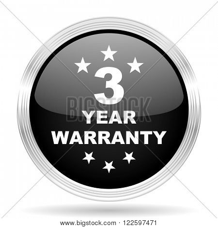 warranty guarantee 3 year black metallic modern web design glossy circle icon
