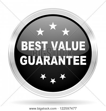 best value guarantee black metallic modern web design glossy circle icon