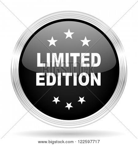 limited edition black metallic modern web design glossy circle icon