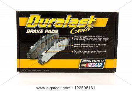 Winneconne WI - 25 April 2015: Box of Duralast Gold brake pads exclusive to Autozone.